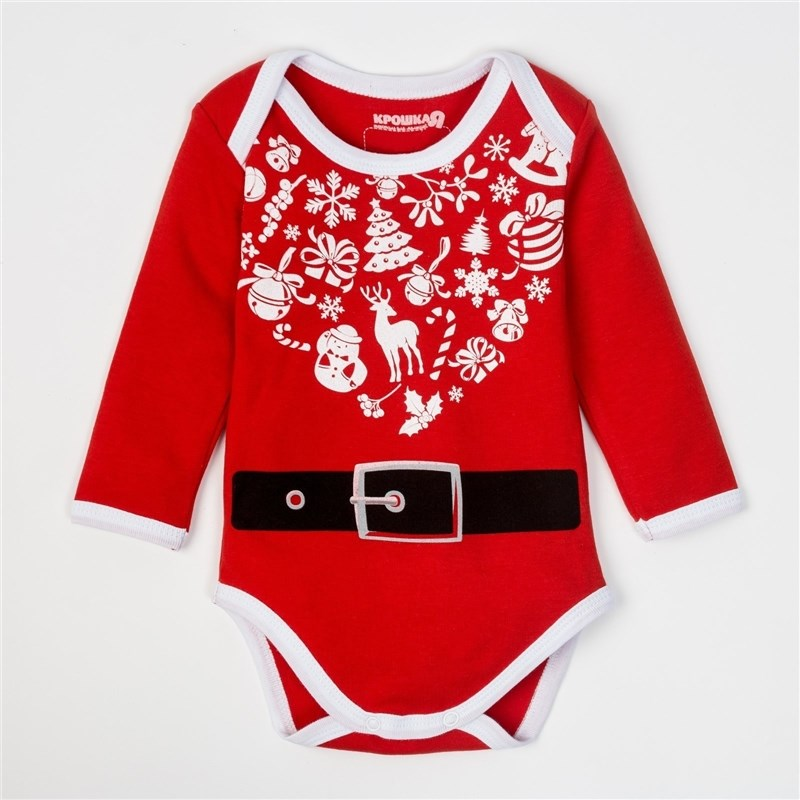 Bodysuit baby with length hand Pet Santa Claus, height 62-68 cm, 3-6 month (22 p-p), 100% CHL, interlock 24