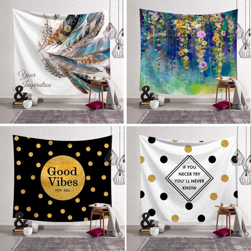 Mandala Wall Hanging Palm Leaves Tapestry Diamond Feather Dot Letter 3D Flower Art Carpet Blanket Yoga Mat Bedroom Decorative