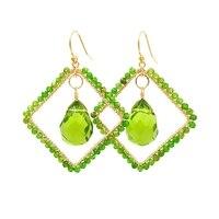 Lii Ji S925 Rhombus Shape Earrings Natural Stone Chrysocolla/Diopside/Larimar/Labradorite/Lapis Lazuli Sparkling Jewelry