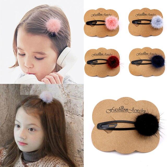 Meninas Grampos De Cabelo com Pequeno Adorável Hairball Pom Pompom Pele Macia Mini Bola Garra Hairclips Grampo de Cabelo Crianças Acessórios Para o Cabelo