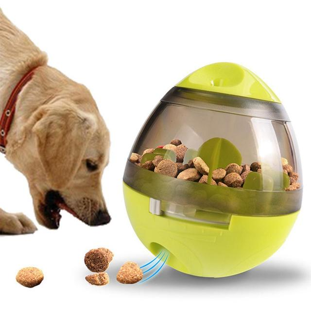 Funny Casual Tumbler Ball Red Food Pet Training Oval Toys Leakage Interactive Dog Pet Green Toy Rose