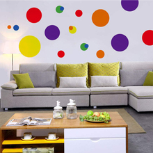 Polka Dot Wall Stickers Colorful Circles Decal DIY for Home Nursery Bedroom Living Room Decor