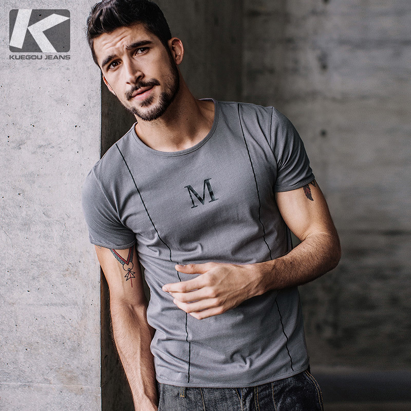 KUEGOU New Summer Mens T-Shirts 100% Cotton Print Gray Color Brand Clothing Man's Short Sleeve Slim T Shirts Male Tops Tees 3095