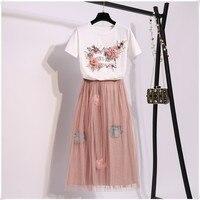 2019 Summer Women Set Flower Print Embroidery Short sleeved Cotton T shirt + Floral Appliques Mesh Skirt Two piece Sets