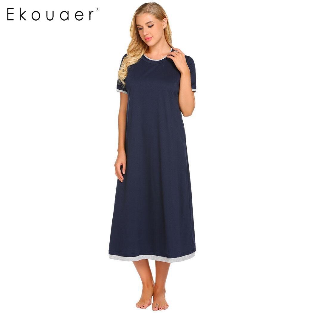Ekouaer Long Night Dress Breastfeeding Maternity   Nightgown   Women Casual Solid O-Neck Nightdress Sleepwear Chemise   Sleepshirts