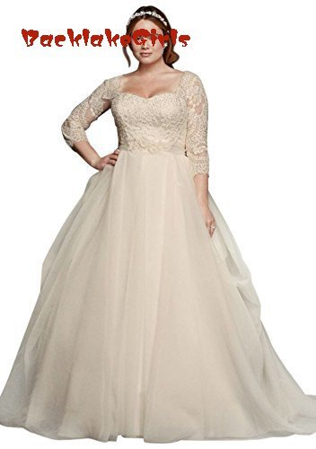 83b8bb4eaa BacklakeGirls Wedding Cassini Plus Size Organza 3/4 Wedding Dress Style