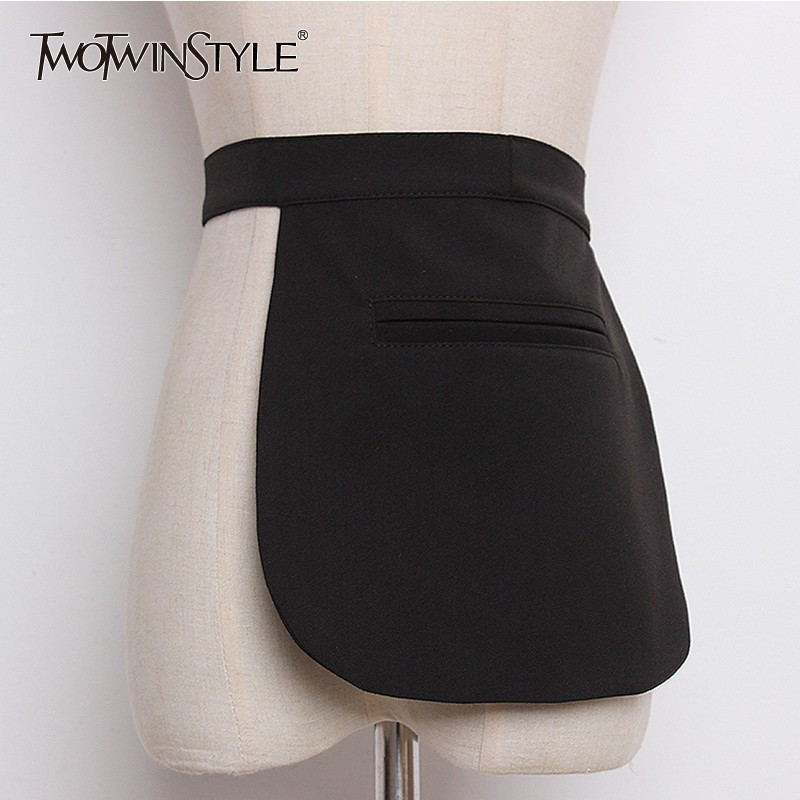 TWOTWINSTYLE Plaid Belt For Women High Waist Bandage Pocket Cummerbund Belt Female Elegant Spring Tide 2020 Fashion