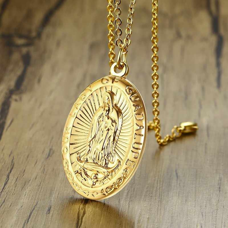 Holy Mary catholic medals Our Lady of Guadalupe Necklace Chain Virgen de Guadalupe Medal Gold Virgin Mary Pendant Catholic Jewelry