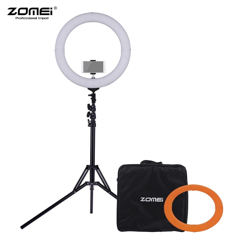 ZOMEI 18 5500K 224pcs LED Ring Video Light Mono color Dimmable LED Fill Light CRI 90