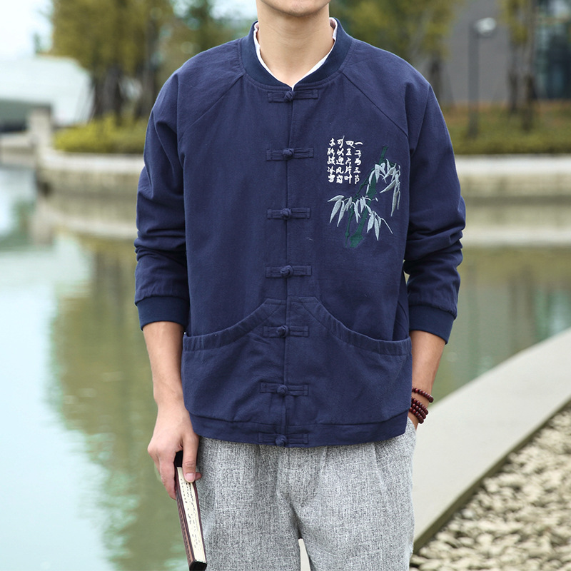 #4378 Del Cotone Della Molla Di Lino Cappotto Degli Uomini Del Ricamo Di Bambù Dell'annata Di Stile Cinese Giacca Mens Di Modo Streetwear Plus Size 4xl 5xl