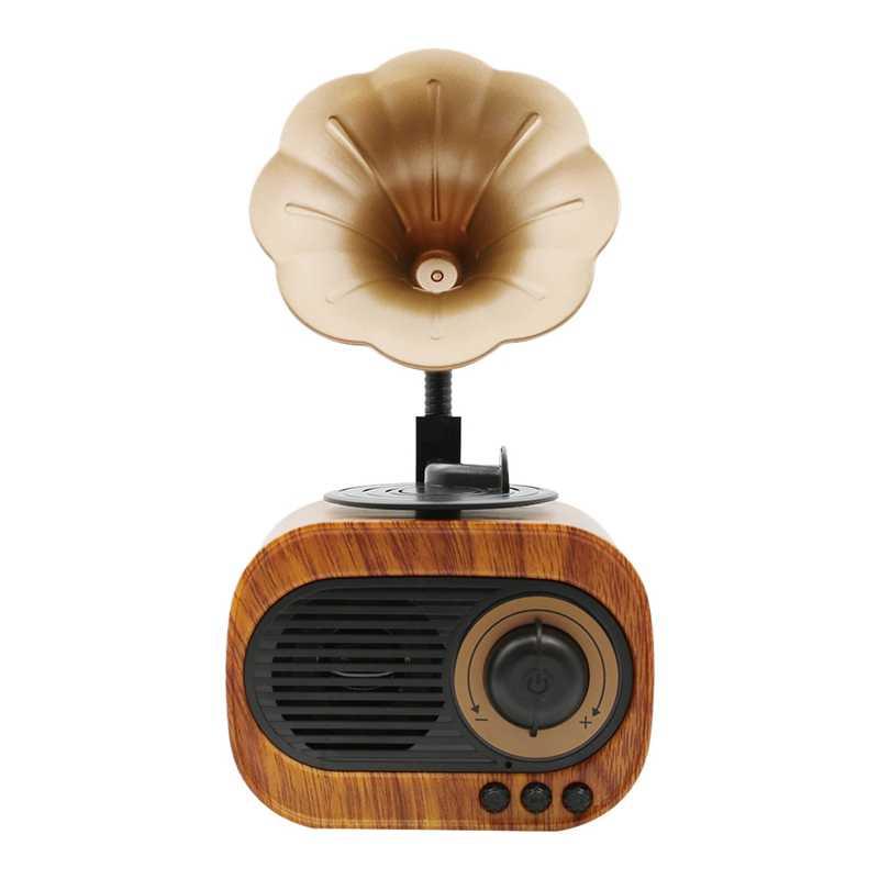 Retro Terompet Style Bluetooth Speaker Wireless Stereo Subwoofer Kotak Musik Kayu Speaker dengan MIC FM Radio TF untuk Telepon Rumah,