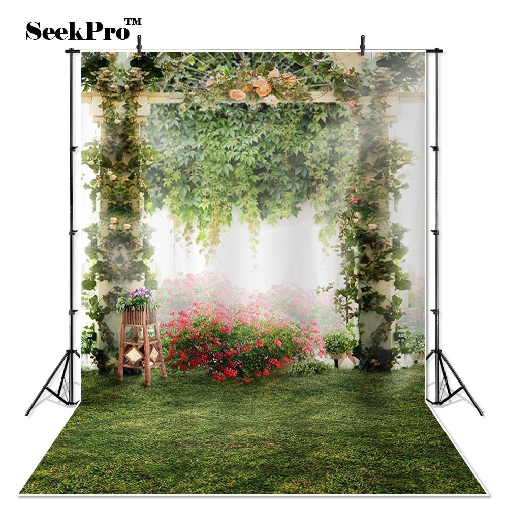 Thin Vinyl flower meadow tree garden vine children Photo Backdrops Printed studio indoor professional Photographic Backgrounds