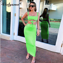 Colysmo Double Layers Lavender Two Piece Set Crop Top Long Skirt 2019 Summer Clothes For Women Sexy Club Outfits Neon Green