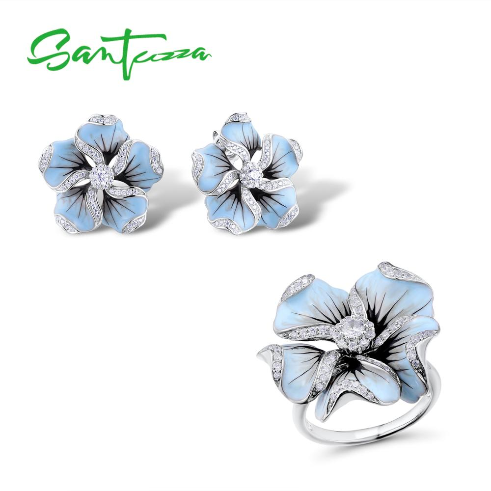 SANTUZZA Jewelry Set 925 Sterling Silver For Woman Gorgeous Blue Flower Ring Earrings Fashion Trendy Jewelry