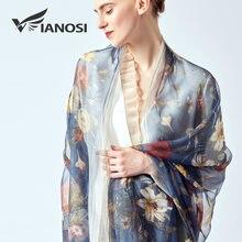VIANOSI  2019 printemps été femmes plage soie floral écharpe nouveau  design imprimer longue souple bleu châles et wraps 27d121d2b0a