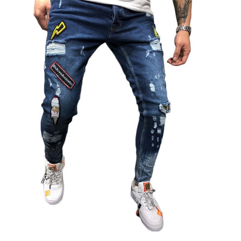 1838fe1b11d 2018 Для мужчин Стильный Рваные джинсы брюки байкер тощий тонкий прямой  потертые джинсовые брюки Новые Модные