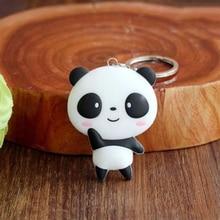 1 PC Cute Cartoon Panda Keychain Keyring Bag Pendant Silicone Animals Panda Handbag Key Ring Chain Women Christmas Gift for 20 cute panda rhinestoned pendant necklace for women