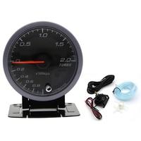 LED Turbo Boost Gauge Meter 60mm Pointer 1~2 Bar Vacuum Press Meter 12V DC