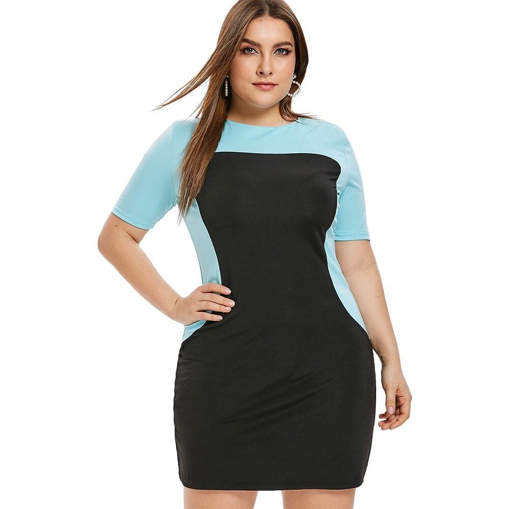 Прямое облегающее платье с коротким рукавом сдвиг леди плюс размер цветной блок круглый вырез женское летнее платье Повседневная Офисная Р...