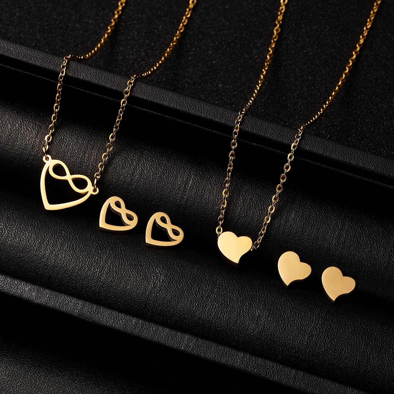Emas Mewah Wanita Warna Tak Terbatas Burung Hantu Cinta Hati Fatima Hand Kalung Anting-Anting Stainless Steel Bridal Pernikahan Perhiasan Set