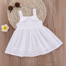 Girls summer floral dress princess Sleeveless Lace Hollow Out Dress Princess Sun Square Collar White lovely dress dropshipping(China)