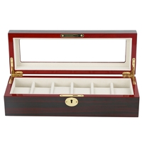 6 slot Wine Red Solid Wood Watch with Lock Storage Box