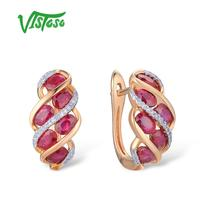 VISTOSO Gold Earrings For Women Authentic 14K 585 Rose Gold Shiny Red Ruby Sparkling Diamond Wedding Engagement Fine Jewelry