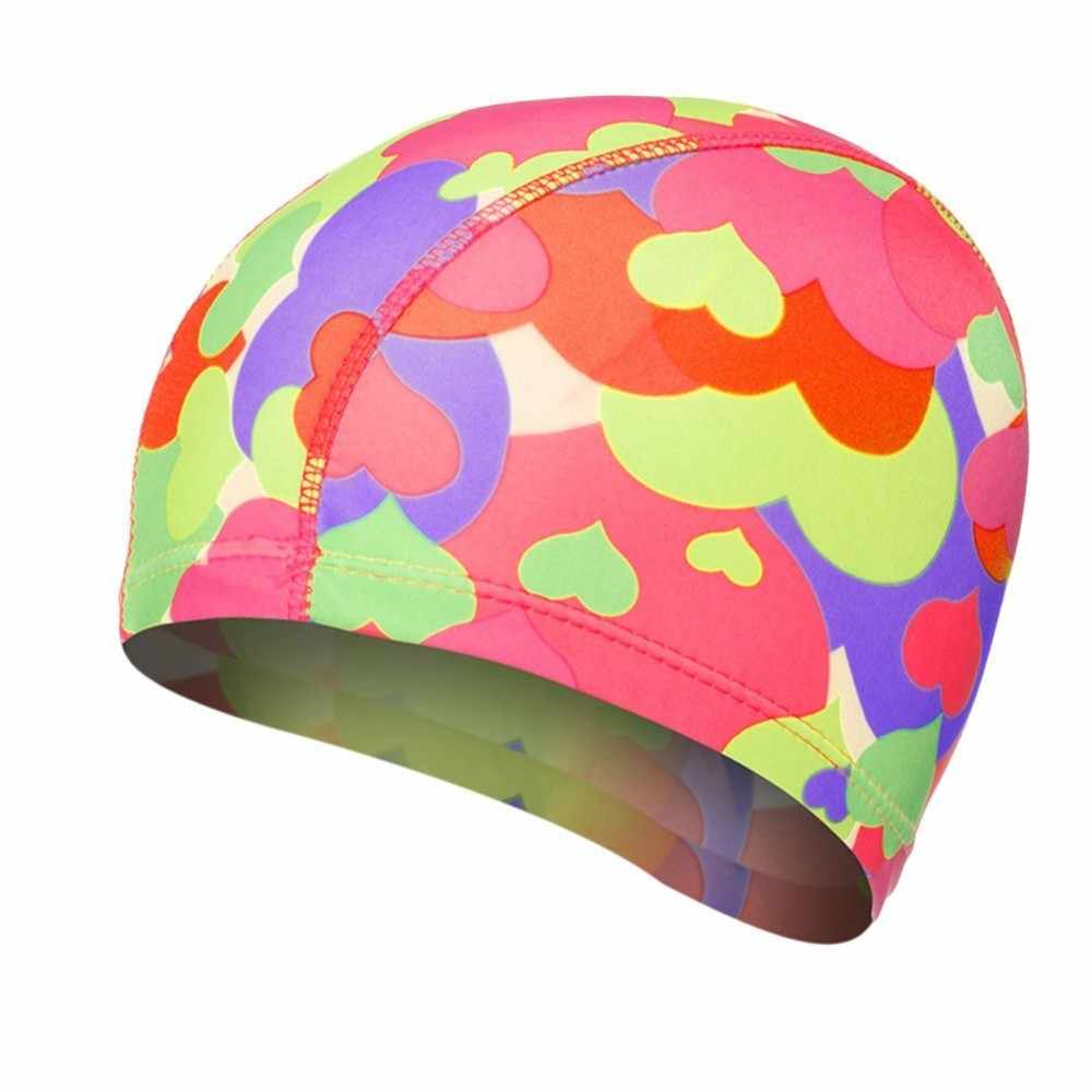 Summer Print Swimming Caps Unisex Waterproof Stretchable Comfortable Ears Protection Long Hair High Elastic Swiming Bathing Hats