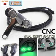 CNC Aluminum Alloy Motorcycle Handlebar Dual Buttons Switch Self-return Reset with Green LED