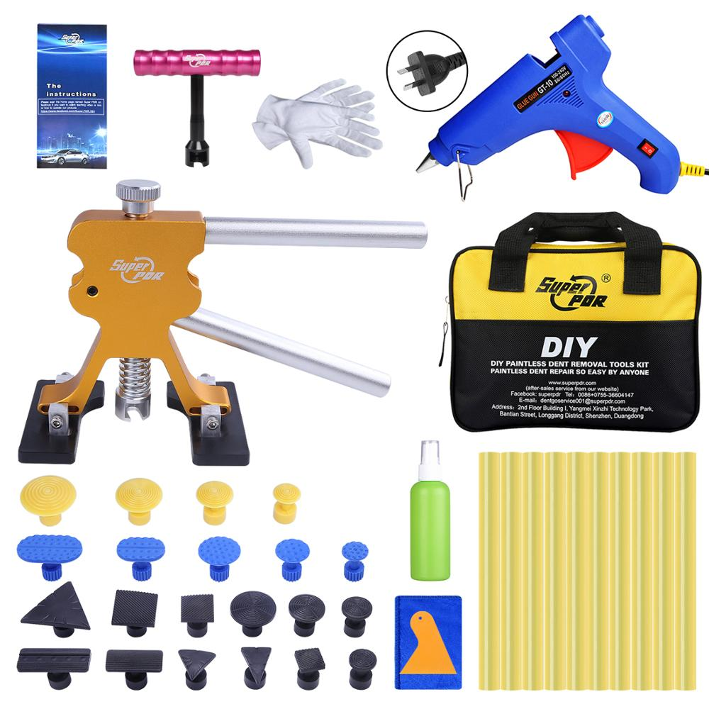 Super PDR Tools Kit For Car Dent Pullers Suction Cup Glue Tabs Paintless Dent Removal Kits AU Plug Hot Melt Glue Gun Glue Sticks super pdr tools dent removal kit for car dent puller suction cup glue sticks for hot melt glue gun line board pump wedge air bag