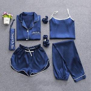 Image 5 - 2019 Summer Women 7 Pieces Silk Pajamas Satin Pyjamas Set Sleepwear Sexy Pijama Nightsuit Female Sleep Loungewear