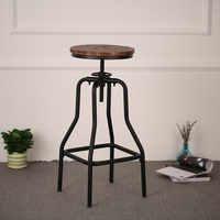 iKayaa Industrial Style Bar Stool Height Adjustable Swivel Natural Pinewood Top Dining Stool Bar Furniture FR US DE Stock