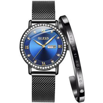 OLEVS Luxury Brand Lady's Crystal Watch Women Dress Waterproof Rose Gold Fashion Quartz Bracelet Watch Stainless Steel dropping цена 2017