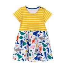 Summer short sleeve girls dress Animal print Casual Solid Cotton clothes 2-7T kids costume Princess dress vestido infantil