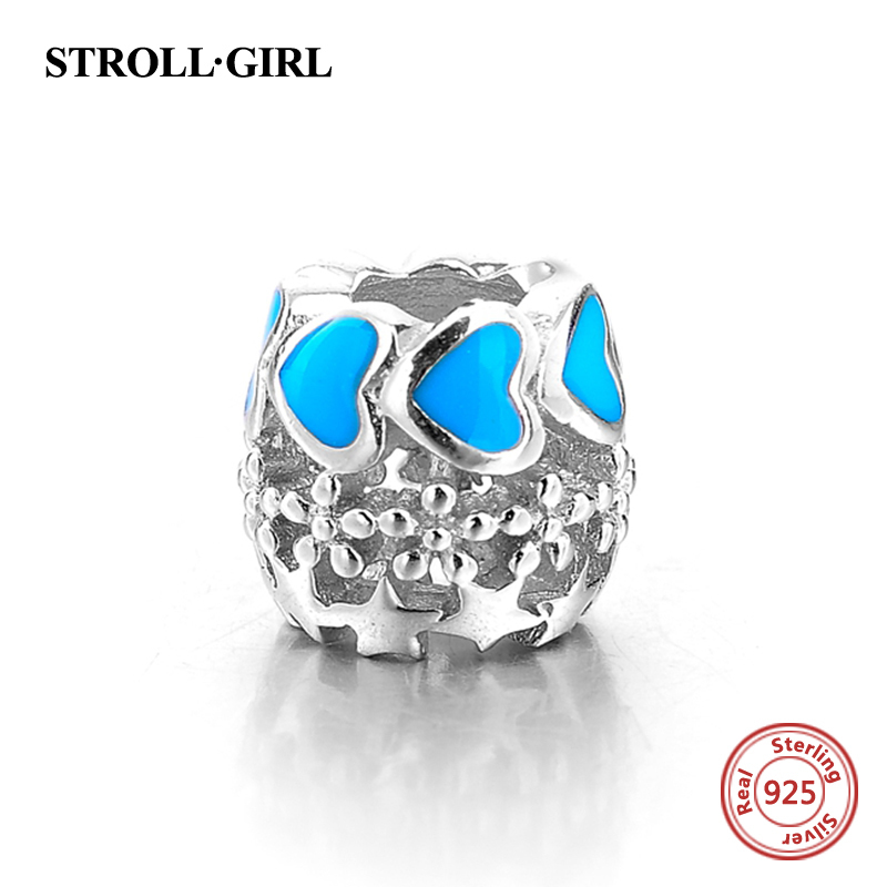 925 silver hollow beads charms with blue love heart enamel fit original Pandora bracelets diy fashion jewelry for women gift in Beads from Jewelry Accessories