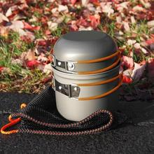 DS-101 Outdoor Camping Cookware Set Portale Tableware Cooking Travel Cutlery Utensils Pot Pan Hiking Picnic Tools Orange Handle widesea camping cookware outdoor cookware set camping tableware cooking set travel tableware cutlery utensils hiking picnic set