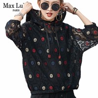 Max LuLu New 2019 Spring Korean Fashion Ladies Mesh Tops Tee Shirts Womens Hooded Lace T shirt Sexy Clothes Female Floral Tshirt