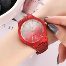 2019 Fashion Lady Wristwatch Gradient Color Round Dial Big Number Analog Alloy Band Women Casual Quartz Wrist Watch For Gift стоимость