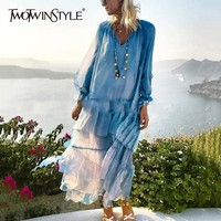 TWOTWINSTYLE Perspective Beach Dresses Women V Neck Lace Up Lantern Sleeve Maxi Dress Female Plus Size 2019 Casual Fashion