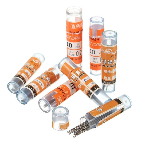 10pcs 0.3/0.5/0.6/0.7/0.8/0.9mm Micro Wear Resistance Straight Shank Twist HSS High Speed Steel Metric Drill Bits
