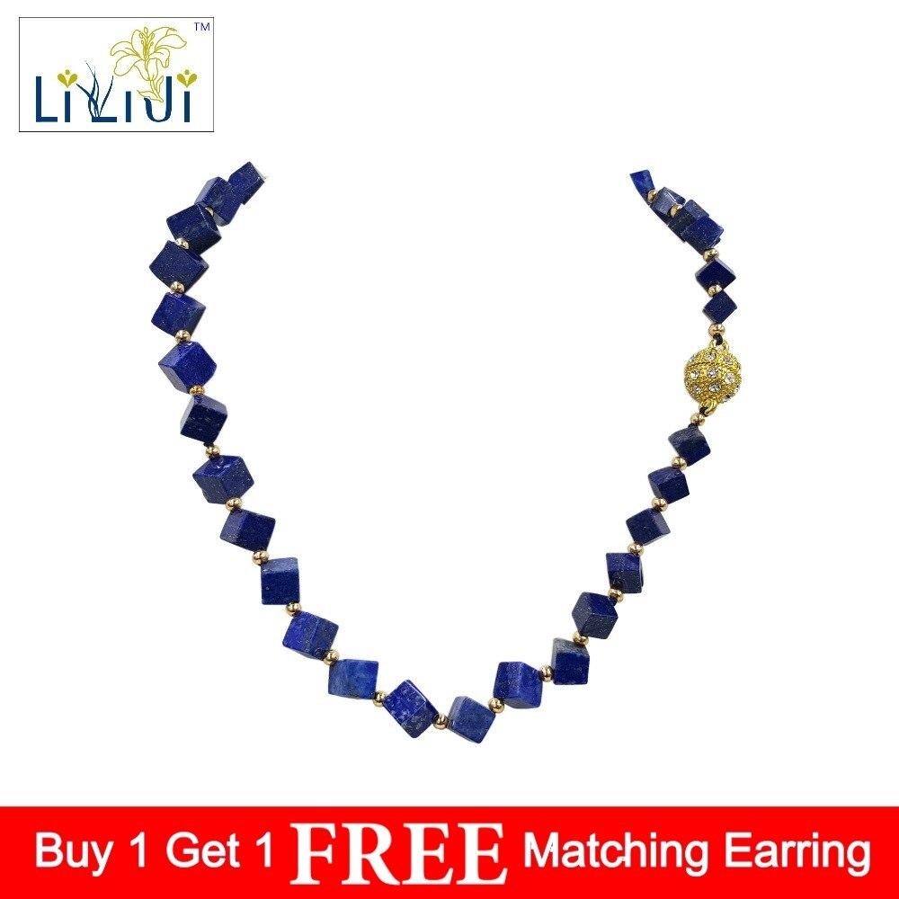 Lii Ji Unique Natural Stone Blue Lapis Lazuli 6 9mm cube shape Crystal Magnet Clasp Necklace