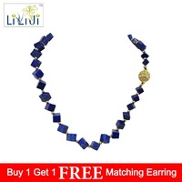 Lii Ji Unique Natural Stone Blue Lapis Lazuli 6 9mm cube shape Crystal Magnet Clasp Necklace 18''/45cm for Women Nice Gift