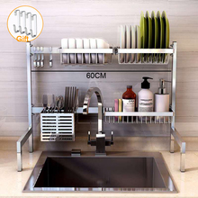 Estante de cocina de acero inoxidable 304 soporte de almacenamiento de drenaje de secado plato de cocina cubertería estante de drenaje organizador de cocina