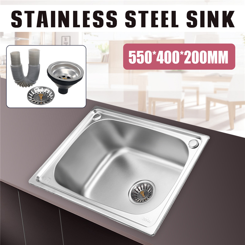 Xueqin 304 Stainless Steel Kitchen Sink Single Bowl Single Sink With Drainer Wash Dishes Handmade Brushed Seamless 550X400X200MM 450x390x200mm 304 stainless steel kitchen sink brushed single bowl slot vegetable trough tank with faucet basket drain assembly