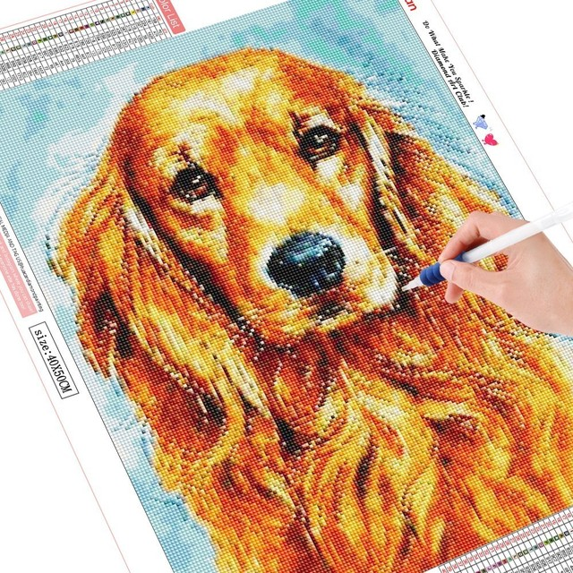 HUACAN Diamond Painting Animals Dog 5D DIY Embroidery Mosaic Cross Stitch Full Square Drill Picture Of