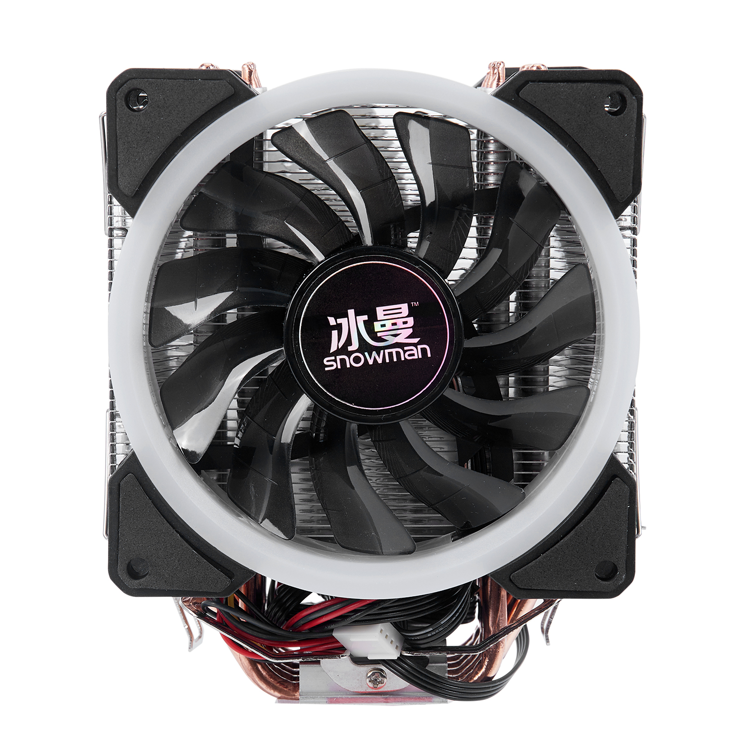 SNOWMAN 4PIN <font><b>CPU</b></font> <font><b>cooler</b></font> 6 heatpipe <font><b>RGB</b></font> LED Double fans cooling 12cm fan LGA775 <font><b>1151</b></font> 115x 1366 support Intel AMD image