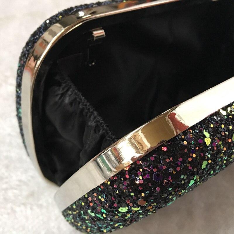 Vrouwen Elegante Glitter Lock Sluiting Purse Keten Handtas Avond Bruiloft Prom Banket Party Handtas Schoudertas (Zwart)