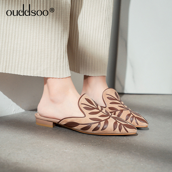 ODS 2019 Women's Slippers Mules Slippers Flats Summer Pointed Toe Sandals Slides Flat Casual Leaves Elegant Leather Shoes Ladies