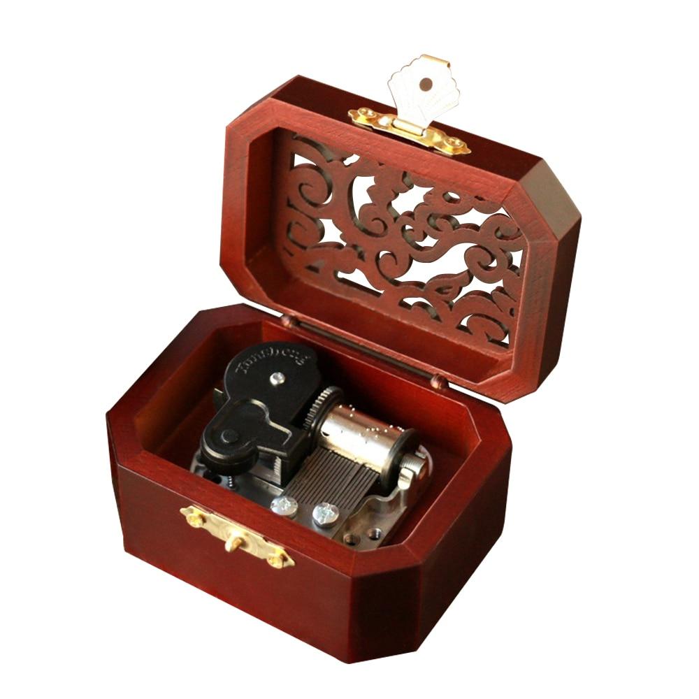 Музыкальная шкатулка из дерева с 18 нотами, креативная Музыкальная шкатулка с полым покрытием, музыкальные игрушки для детей, игра Lilium От Elfen ...