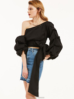 Creatorzwz Women Black One Shoulder Tops Sexy Asymmetrical Blouse Tunic with Bow